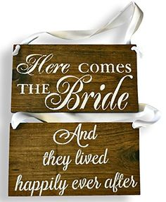 REVERSIBLE Here comes the Bride Sign DOUBLE SIDED They Lived Happily Ever After Rustic Wedding Wood Sign Wooden Signs Dark walnut  White Ribbon ** Find out more about the great product at the image link.