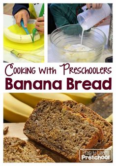 Banana Bread - cooking with kids at Play to Learn Preschool kids cooking activities fun Kids Cooking Activities, Cooking With Toddlers, Kids Cooking Recipes, Cooking Classes For Kids, Baking With Kids, Easy Cooking, Healthy Cooking, Kids Meals, Cooking Games