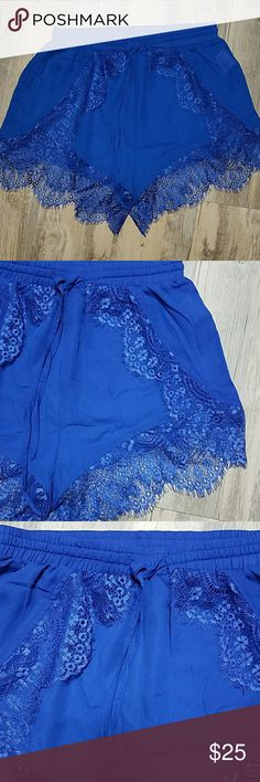"""🌟🌟HP🌟🌟Chiffon shorts with lace hem NWOT 🌟🌟HP🌟🌟 festival fashion party 6/4/17 These are the cutest little chiffon shorts. World work great over a swimsuit at any pool party. Get them before they are gone!  New without tags  Approx:  12"""" long  Laid flat waist is approx 12.5"""" with elastic and drawstring  PM009 Shorts"""