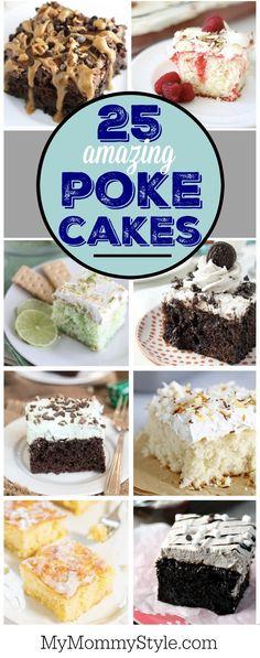 25 favorite and amazing poke cake recipes 25 beliebte und erstaunliche Soke-Cake-Rezepte Strawberry Desserts, Köstliche Desserts, Delicious Desserts, Dessert Recipes, Cupcakes, Cupcake Cakes, Cake Cookies, Poke Hole Cake, Poke Cake Recipes