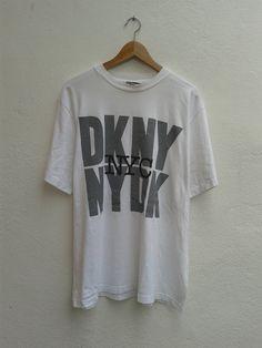 DKNY Jeans Donna Karan NYC Giant Graphic Swag Shirt Vintage 90s T-Shirt Size OSFA by BubaGumpBudu on Etsy