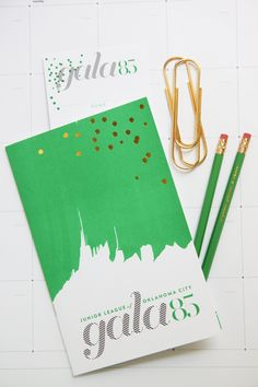 keywords: gala invitation benefit fundraiser party non-profit corporate brushstroke confetti green program fashion