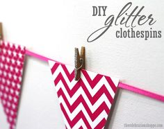 Hang your next banner with DIY glitter clothespins ~ easy DIY tutorial! Chevron banner part of cowgirl birthday party collection at thecelebrationshoppe.com