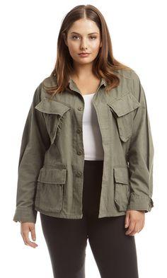Plus Size Line & Label Leather Military Jacket @heygorgeousny