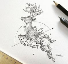 Drawing Animals Awesome Intricate Drawings Fuse Animals And Geometric Shapes - UltraLinx - We've featured Philippines-based artist Kerby Rosanes before for his incredible doodles in his Moleskine notebook. Well now he's picked his pen back up to Geometric Deer, Geometric Drawing, Geometric Shapes, Geometric Tattoos, Geometric Sleeve, Animal Drawings, Pencil Drawings, Art Drawings, Animal Illustrations