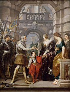 Consignment of the Regency (from Marie de' Medici Cycle) - Peter Paul Rubens. Oil on canvas. 394 x 295 cm. Peter Paul Rubens, French History, Art History, Pedro Pablo Rubens, Rey Enrique, Rubens Paintings, Pierre Paul, Free Art Prints, Ppr