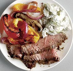 GRILLED FLANK STEAK WITH CUCUMBER-YOGURT SAUCE *Grill http://www.finecooking.com/recipes/grilled-flank-steak-cucumber-yogurt-sauce.aspx