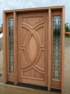 Exterior Wood Doors - Solid Mahogany Wood Front Door with Wrought Iron Glass Sidelites with Quick Shipping. Single Door Design, Wooden Front Door Design, Double Door Design, Wood Front Doors, Glass Front Door, Entry Doors, Front Entry, Door Design Images, Tor Design