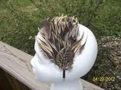 black and brown feather clip with leave by ladybugladyjjjsalon, $26.50