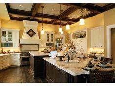Large kitchen with unique island design