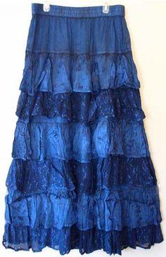 Boho Denim Gypsy Skirt