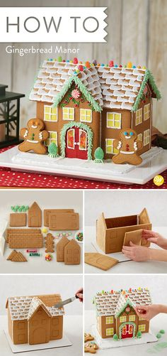 your Gingerbread expectations are big ones, this estate-sized manor will fulfill your wishes. Four types of candy, three colors of icing, yellow fondant and gingerbread kid cookies make this gingerbread kit experience the biggest and the best! Gingerbread House Designs, Gingerbread House Parties, Christmas Gingerbread House, Christmas Sweets, Christmas Goodies, Christmas Baking, Kids Christmas, Gingerbread Cookies, Gingerbread Houses