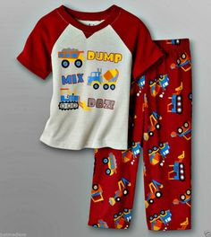 Joe Boxer Baby Boy's Spring Multi Color 2 Pc Set PJ's Graphic Big Trucks - Sz 12