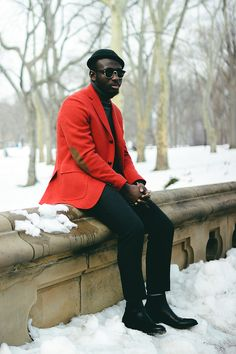 Pair a red wool blazer with black wool dress pants to ooze class and sophistication. Jazz things up by sporting a pair of black leather chelsea boots. Mens Burgundy Blazer, Burgundy Shoes, Red Blazer, Burgundy Dress, Burgundy Color, Cute Presents For Boyfriend, Black Leather Chelsea Boots, Rx Sunglasses, Black Beanie
