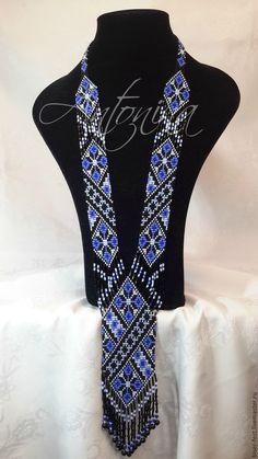 Купить Гердан - синий, черный, гердан из бисера, стиль этно, бисер, бусы из бисера