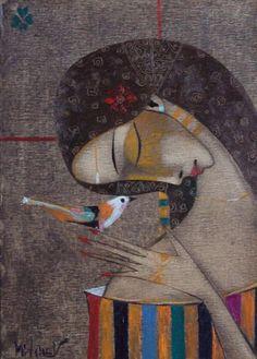 Peter Mitchev「Dream with bird」 Cubism Art, Arte Popular, Portrait Art, Portraits, Face Art, Figure Painting, Indian Art, Art Oil, Sculpture Art