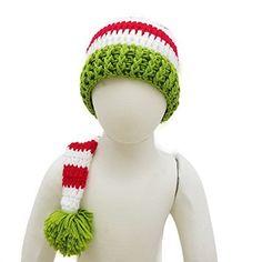 0def345d85d Christmas Baby Green Red Crochet ELF Long Tail Pom-pom Hat
