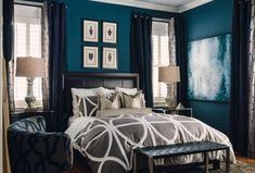 Masculine Bedroom Makeover - James Wheeler Bedroom Makeover - House Beautiful -- I don't think it's masculine but either way I love the bold colors Dark Teal Bedroom, Gray Bedroom Walls, Bedroom Decor, Bedroom Ideas, Bedroom Makeovers, Bedroom Bed, Bed Room, Blue Accent Walls, Blue Walls