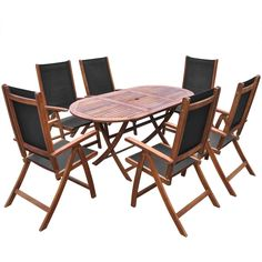 7 Piece Patio Dining Set Garden Lawn Furniture Folding Chairs Table Deck Outdoor