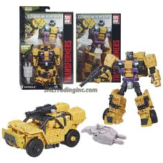 """Transformers Generations Combiner Wars Deluxe Class 5-1/2"""" Tall Figure - Decepticon SWINDLE with Blaster, Bruticus' Right Leg and Comic Book (Vehicle Mode: SUV)"""