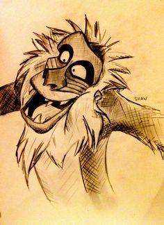 Disney character...Rafiki Cartoon Sketches, Disney Sketches, Disney Drawings, Drawing Sketches, Lion King Drawings, Lion King Art, Disney And Dreamworks, Disney Pixar, Disney Doodles
