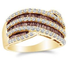 Size 5 - 14K Yellow Gold Large White and Chocolate Brown Diamond Cross Over Wedding , Anniversary OR Fashion Right Hand Ring Band - w/ Channel Invisible Set Round & Baguette Diamonds - (1.52 cttw)