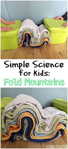 Do Folded Mountains Form: Science For Kids This is a great hands-on science experiment to explain how fold mountains are formed.This is a great hands-on science experiment to explain how fold mountains are formed. Kid Science, Earth Science Lessons, Earth And Space Science, Science Activities For Kids, Science Experiments Kids, Middle School Science, Elementary Science, Science Classroom, Teaching Science