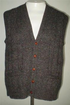 SWEATER VEST WOOL FLECKED Vintage Charcoal Gray Robert Bruce USA Pockets Large