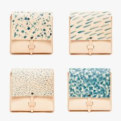 MYR's Rain Collection series consists of four different designs, Drip, Drizzle, Pouring and Snowrain. Each bag is handcrafted with organic leather from Sweden's Tärnsjö tannery, and then hand stained with one of the four rain patterns.