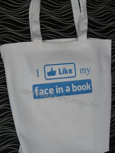 i like my face in a book tote