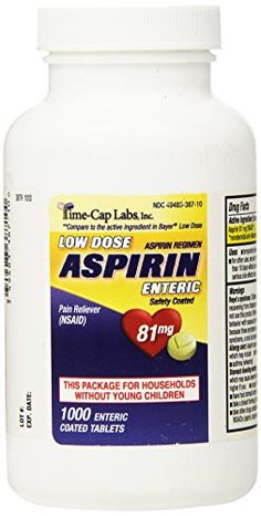 Aspirin Adult Low Dose Enteric Coated 81 mg Generic for Bayer Aspirin Low Dose 1000 Tablets Per Bottle Time Cap Labs http://www.amazon.com/dp/B00KEG2O2W/ref=cm_sw_r_pi_dp_8e6Lvb16Y6NRF