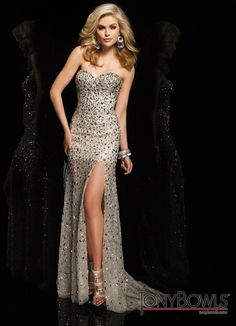 Tony Bowls 2014 Champagne Silver Strapless Beaded Sheer Prom Dress 114727 | Promgirl.net