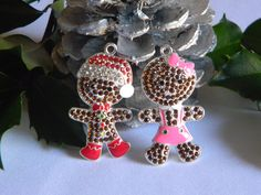 Gingerbread Pendant Boy & Girl Rhinestone Pendant for Necklaces Key Chain Zipper Pull You Choose Boy Girl or Both Christmas Jewelry Holiday by HouseofHairDecor on Etsy