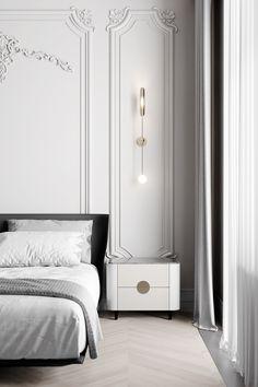 - Tikhaya classica - on Behance Luxury Bedroom Design, Home Room Design, Living Room Designs, House Design, Modern Classic Interior, Apartment Interior Design, Interior Designing, Luxury Home Decor, Luxurious Bedrooms