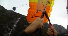 Turning the canopy away from the cliff True Happiness, Skydiving, Cliff, Canopy, Turning, Canopies, Wood Turning, Porch Awning