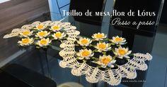 Trilho de mesa flor de lótus | Croche.com.br