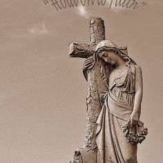 Hold on to Faith by Brenda Bihlear - Buildings & Architecture Statues & Monuments ( religion, statue, sepia, lady, monument, cross,  )