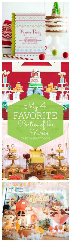 My favorite parties this week include a fun Christmas pajama party, a cute Barnyard bash, a glam Beauty and the Beast birthday and a pretty fairy party! | Catchmyparty.com
