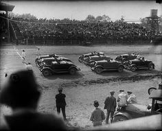 Early stock car race. No safety equipment.
