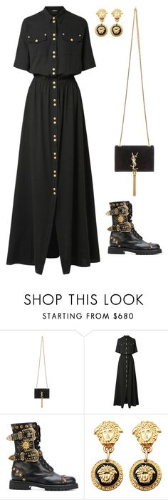"""""""Senza titolo #6207"""" by marcellamic ❤ liked on Polyvore featuring Yves Saint Laurent, Balmain, FAUSTO PUGLISI and Versace"""