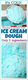 Pretend Ice Cream Parlor for Kids using dough made from baking soda (boy, I've got to stock up on this stuff -- it's in so many sensory recipes) and kool aid powder or those frosting powder packets + just enough water to get an ice cream consistency.