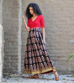 Red and black paisley print maxi