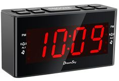 """Silver TIMEX T121S Alarm Clock with .7/"""" Red Display"""