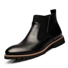 Men British Style Vintage Pointed Toe Genuine Leather Elastic Panels Boots ,Botas masculinas Bottines pour hommes,High Quality Genuine Leather Men's Ankle Boots Bullock Rubber Sole Chelsea Shoes Plus Size Mens Ankle Boots, Chelsea Ankle Boots, Black Ankle Boots, Leather Boots, Men Boots, Soft Leather, High Boots, British Style Men, British Fashion