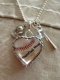 "Baseball Necklace by Keelyjo Bling & Things  ""Heart of Baseball"" needs to say baseball cousin or sister"