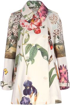 Stella Mccartney Botanical Cropped Trench Coat in Floral (white)  Very cute for spring