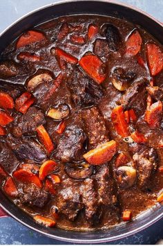 NYT Cooking: Dijon and Cognac Beef Stew. bacon instead of salt pork, Armagnac instead of Cognac, double the mushrooms, put the carrots in for a full hour of cooking and cooked with lid fully covering the pot. Beef Recipes, Soup Recipes, Cooking Recipes, Cooking Beef, Dishes Recipes, Healthy Cooking, Cooking Time, Cooking Torch, Kitchen