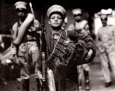 A child soldier during the Mexican Revolution, The revolution was brutal and bloody, killing at least a million Mexican people and perhaps 2 million. As the war got more desperate toward. Cristero War, World History Facts, Mexican Army, Mexican People, Mexican Revolution, South Of The Border, Diego Rivera, American Civil War, Human Rights