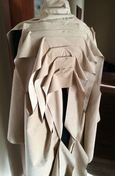 Innovative Pattern Cutting - jacket back detail with layered folds; fabric manipulation; sewing; draping // Anna Kruchinkina