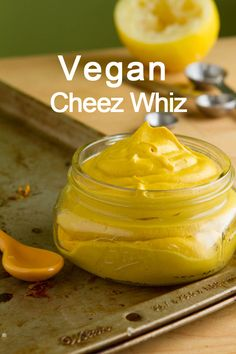 Vegan Cheez Whiz (butternut squash, oil, soaked cashews, lemon juice, nutritional yeast, mustard, turmeric, onion/garlic powder, salt)